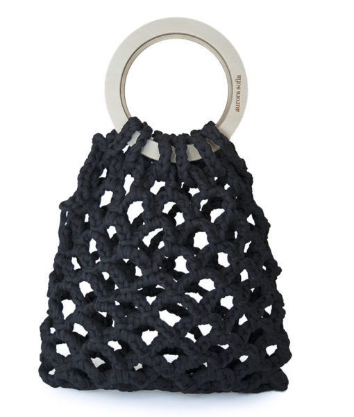Beautiful and distinctive knitted black handbag