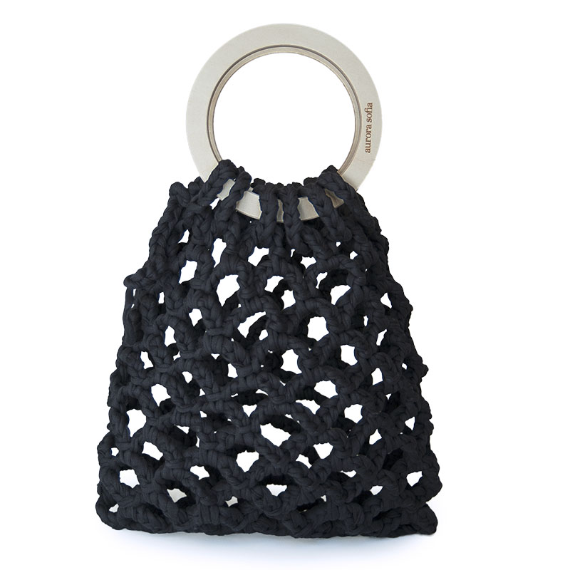 Beautiful and distinctive knitted black handbag