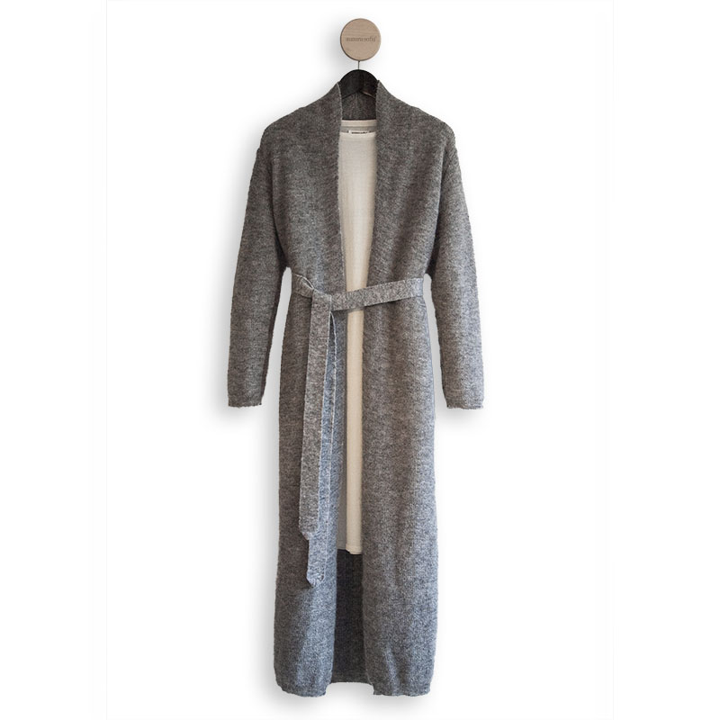 shop Usva long cardigan grey luxuriously long cardigan finnish fashion sustainable hygge luxurious wool made in finland aurora sofia suomi100