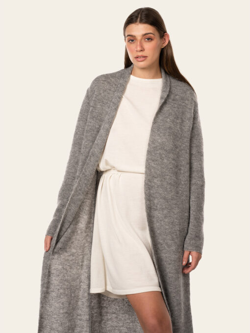Luxuriously long gray cardigan