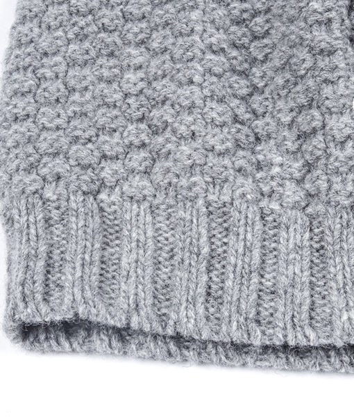 Close-up of the Grey Aurora Sofia Poiju Beanie on a white background