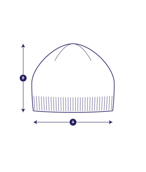 Model drawing of the Aurora Sofia Poiju beanie