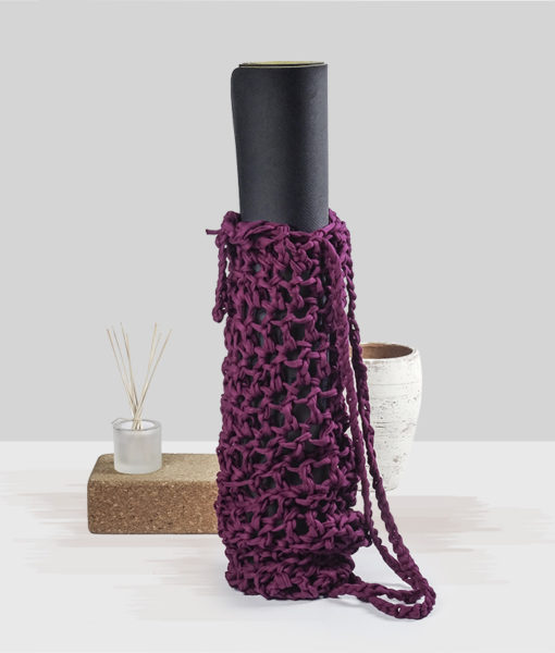 Purple knitted yoga matt bag