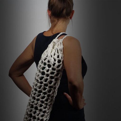 White knitted yoga matt bag