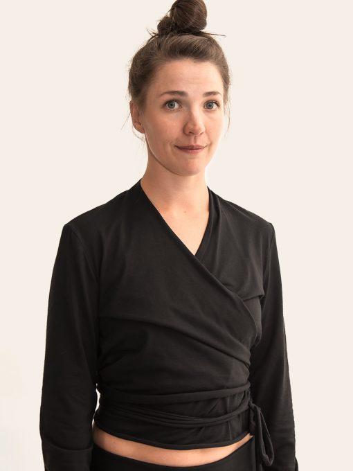 Black organic cotton yoga wrap top