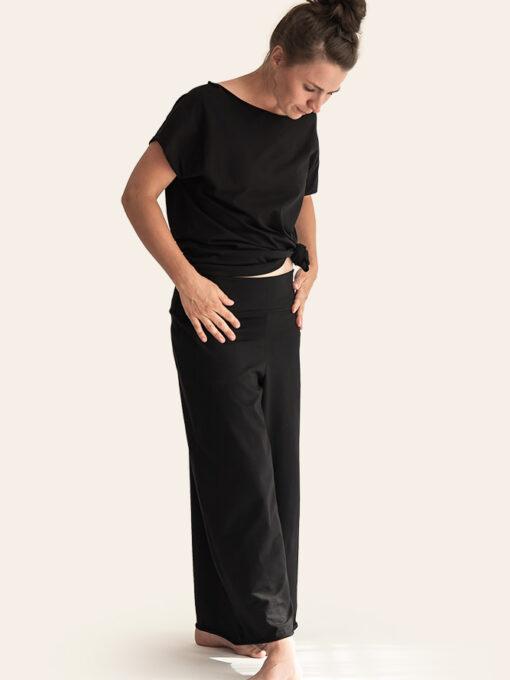 Black organic cotton culottes trousers