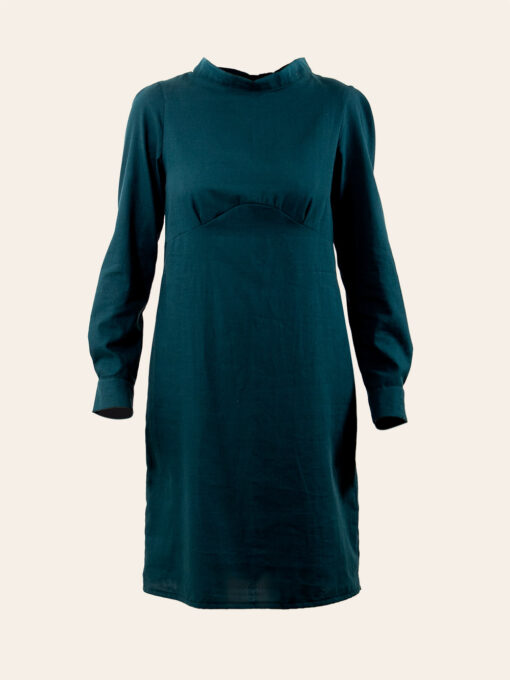 Long-Sleeve Dress of Organic Cotton and High Neckline