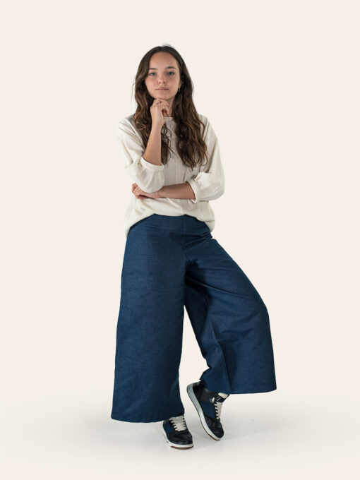 Wide denim trousers with wool shirt