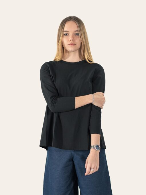 Organic cotton shirt with wide denim trousers